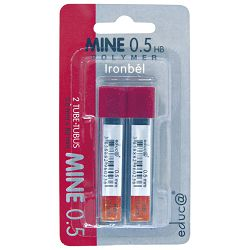 Mine 0,5mm HB polymer pk2 Educa blister