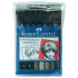 Flomaster Pitt  8boja Manga Set Faber Castell 167107/8boja blister