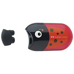 Šiljilo-gumica pvc s kutijom 2rupe Bubamara Faber Castell 183526 crveno/crno