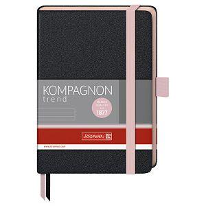 Notes A6 crte 96L 80g s gumicom Kompagnon Trend Brunnen 10-55717 27 crno/pastelno rozi!!