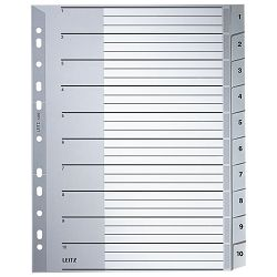Pregrada plastična A4 brojevi 1-10 Leitz 12800000 siva