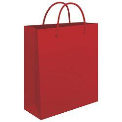 Vrećice ukrasne 34x39x10cm sjajna plastifikacija Fornax crvene