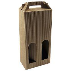 Kutija za boce 2/1 natron rebrasta 15,6x36x8,7 pk10 smeđa