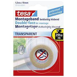 Traka ljepljiva obostrana 19mm/1,5m spužvasta Transparent Tesa 55743 blister