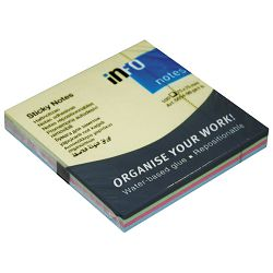 Blok samoljepljiv  75x75mm 100L(4bojex25l) Global Notes 5654-98-pk1-b mix pastel