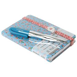 Set poklon notes Lanybook  9x14cm Romantic Flowers crte+olovka kemijska N`ice Faber Castell tirkizna!!