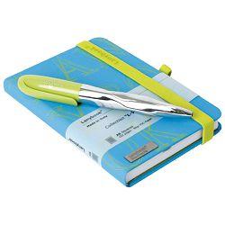 Set poklon notes Lanybook  9x14cm L-Y-O karo+olovka kemijska N`ice Faber Castell svijetlo zelena!!