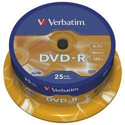 DVD-R 4,7/120 16x spindl Mat Silver pk25 Verbatim 43522