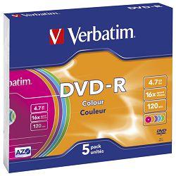 DVD-R 4,7/120 16x slim pk5 Verbatim 43557 sortirano