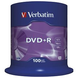 DVD+R 4,7/120 16x spindl Mat Silver pk100 Verbatim 43551