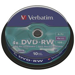 DVD-RW 4,7/120 4x spindl Mat Silver pk10 Verbatim 43552