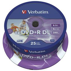 DVD+R DL 8,5/240 8x spindle printable pk25 Verbatim 43667