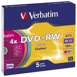 DVD+RW 4,7/120 4x slim pk5 Verbatim 43297 sortirano