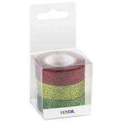 Traka Deco ljepljiva 15mmx3m glitter pk3 Heyda 20-35843 77 sortirano blister