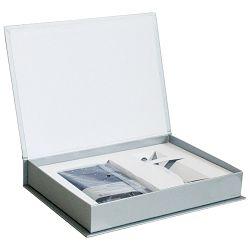 Set poklon notes Lanybook  9x14cm Diamond karo plavi+olovka kemijska Basic Faber Castell sjajna srebrna!!