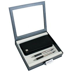 Set poklon olovka kemijska+tehnička Pe-Pe+etui kožni Penac srebrna