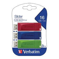 Memorija USB 3x16GB StorenGo Slider Verbatim 49326 crveni/plavi/zeleni