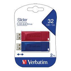 Memorija USB 2x32GB StorenGo Slider Verbatim 49327 crveni/plavi