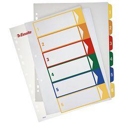 Pregrada plastična A4 brojevi 1- 6 kolor PC Esselte 100212