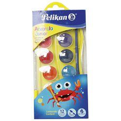 Boja vodena fi 25mm 12boja+kist Pelikan 700337 sortirano blister