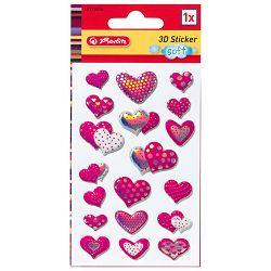 Naljepnice dječje 3D srca roza Herlitz 10918654!!