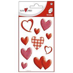 Naljepnice ukrasne srca karirana Herlitz 11259298 crvena blister!!