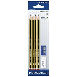 Olovka grafitna HB Noris+gumica+šiljilo pk4 Staedtler 120S1BK4D blister