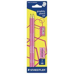 Olovka grafitna HB Wopex Neon pk2+gumica+šiljilo Staedtler rozi blister