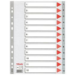 Pregrada plastična A4 brojevi 1-12 Esselte 100106 siva