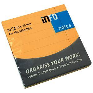 Blok samoljepljiv 75x75mm crte 80L Global Notes 5654-35-L neon-narančasti