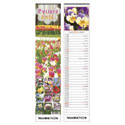 Kalendar Cvijeće uski okomiti 13 listova spirala