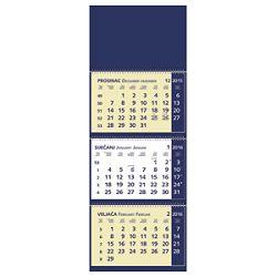 Kalendar zidni trodijelni 2016 s 3 spirale plavi