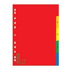 Pregrada plastična A4 brojevi 1 5 kolor Donau 7708