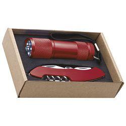 Svjetiljka ručna  9 LED+nož u EKO pakiranju crvena