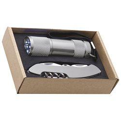 Svjetiljka ručna  9 LED+nož u EKO pakiranju srebrna