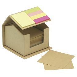 Blok samoljepljiv oblik kućice +reciklirani papir + 4 zastavica