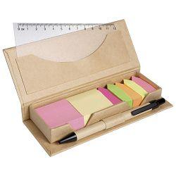 Blok samoljepljiv u kutiji 2 post it + 5 zastavica + ravnalo + olovka kemijska