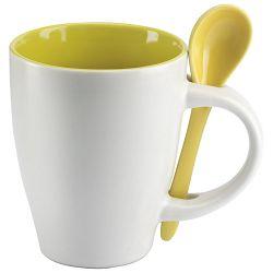Šalica 250ml sa žličicom bijela/žuta