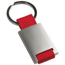 Privjesak za ključeve metal-textil crveni
