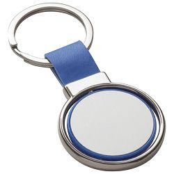 Privjesak za ključeve metalni - umjetna koža plavi