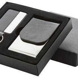 Set za vizitke+ključeve crno-srebrni