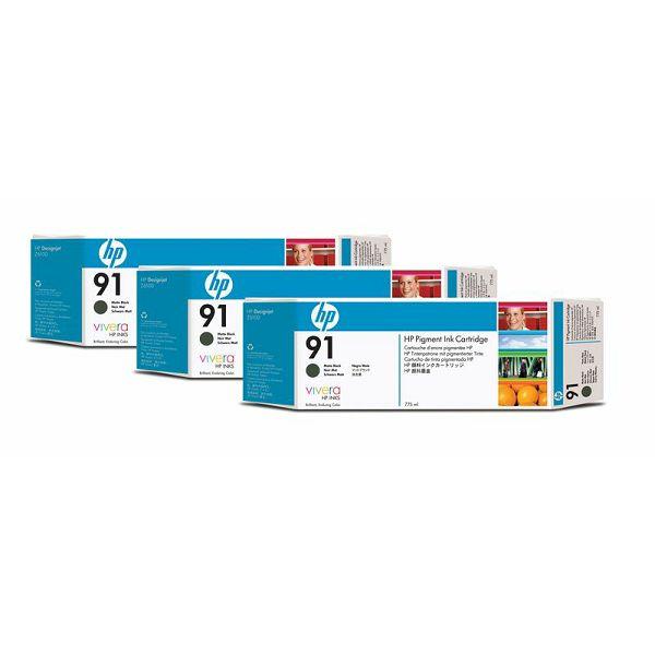 HP C9480A No.91 Matte Black Orginalna tinta 3-pack