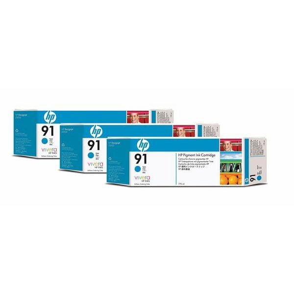 HP C9483A No.91 Cyan Orginalna tinta 3-pack