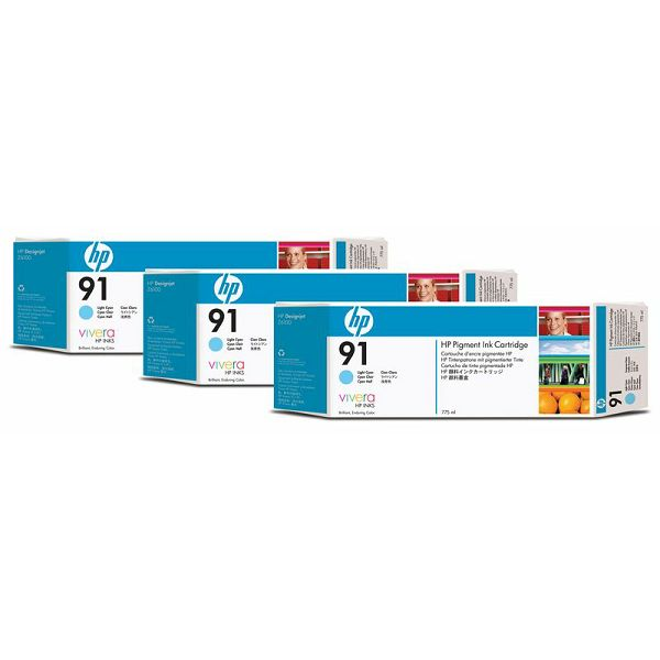 HP C9486A No.91 Light Cyan Orginalna tinta 3-pack