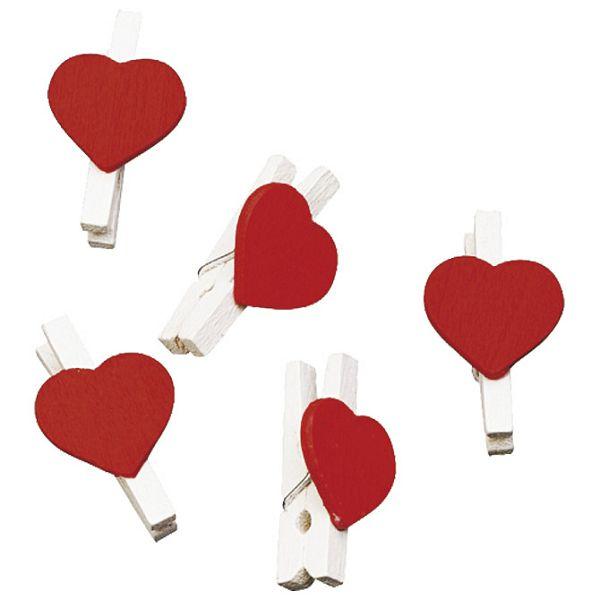 Kvačice drvene Srce 2,5cm pk12 Knorr Prandell 8001618