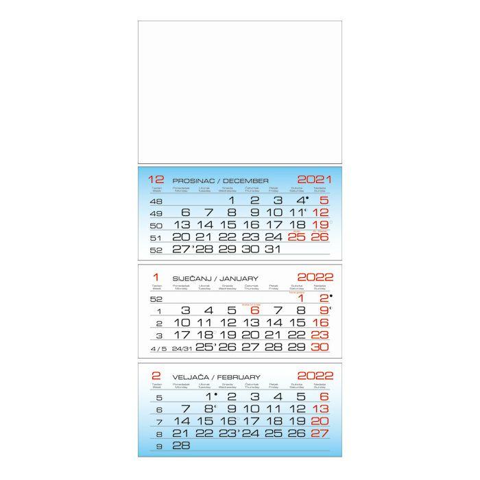 Kalendar zidni trodijelni 2019.-3 bloka!!