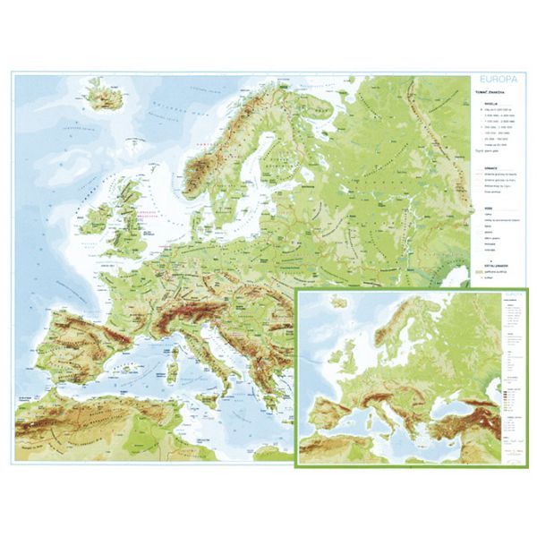 Karta Europe 56x49 plastificirana obostrana
