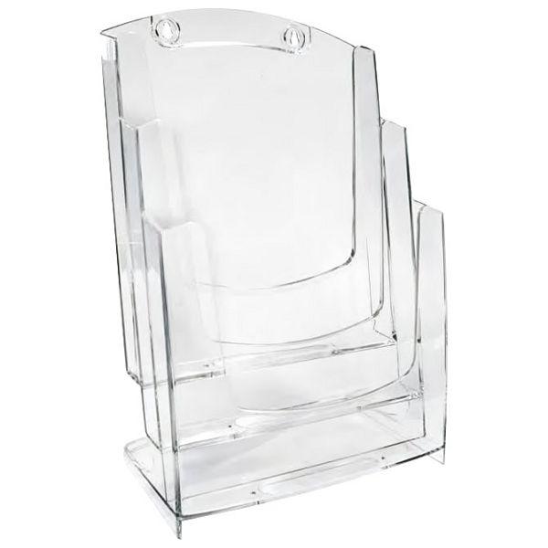 Stalak za prospekte stolni-zidni A4 trodjelni okomit Arda 70A43 kristalno proziran