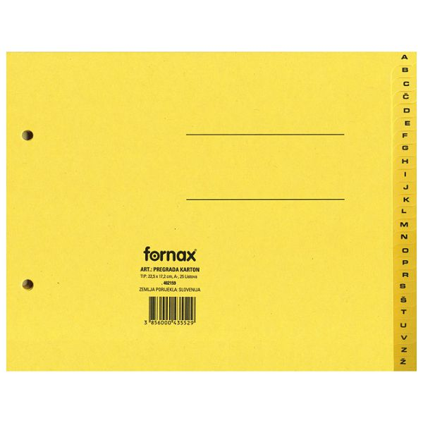 Pregrada kartonska 22,5x17,2cm A-Ž Fornax sortirano