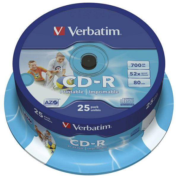 CD-R 700/80 52x spindl AZO printable pk25 Verbatim 43439